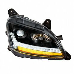 Projection Headlight W/ Led Sequential Turn/drl For Peterbilt-blackout-passenger