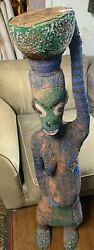 48 Tall Antique African Bamileke African Female Carrying Vessel Tribal Statue