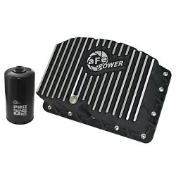 Afe 46-70322 Black Engine Oil Pan Wit Machined Fins And Oil Filter For F-250/f-350