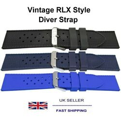 Rlx Vintage Style Divers Silicone Strap 18mm 20mm 22mm Sizes