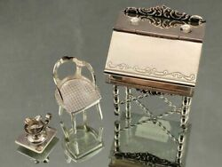 H. Hooijkaas Sterling Silver Miniature Desk Chair And Candle Holder 835 Holland