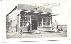 Vintage Bandw Photo Early Gas Station Visable Pumps Oil Cans In Window 3x5