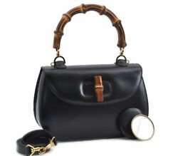 Authentic Bamboo 2way Shoulder Hnad Bag Leather Black 78654