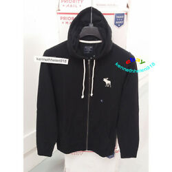 Abercrombie And Fitch Mens Exploded Icon Full Zip Hoodie Sweatshirts Black Size M
