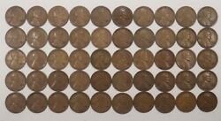 1929 S Lincoln Wheat Cent Roll 1c Vf - Vf+ Very Fine Very Fine Plus Full Roll