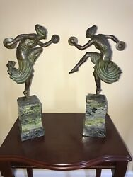 Lucien Alliot Bronze Dancing Lady Figurines. Perfect Condition. Rare Find.