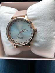 195 Nwt Kate Spade Pink Metro Scallop Three-hand Leather Watch Ksw9017
