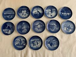 Denmark Royal Copenhagen And Others Blue Vintage Plates Lot Of 13 All 1968-1980