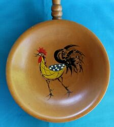 Rooster Chicken Wood Bowl Snacks Handle Vintage Hand Painted Kitchen Japan #2