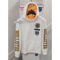 Hollister Mens Embroidered Tiger Graphic Hoodie Sweatshirts White Size L,xl