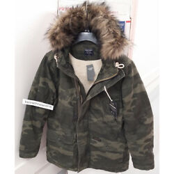 Abercrombie And Fitch Mens B-9 Sherpa Lined Parka Jacket Coat Camo Size Mlxl