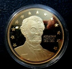 Abraham Lincoln 24kt Gold Layered Proof Medal, Civil War Northern Leaders