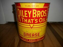 Vintage Riley Bros 10 Lb Grease Tin Gas Oil Station Advertising Can Pail Bucket