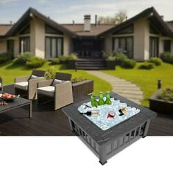 32 Metal Fire Pit Brazier Square Table Home Garden Patio Heater Stove Outdoor