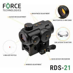 Force Reflex Red Dot Sight Rds 1x21mm - With 2-button Operation 5moa Reticle