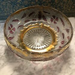 Antique Eapg Us Glass Delaware Four Petals Ruby Red Flowers Gold Trim Bowl