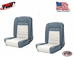 Full Set Deluxe Pony Seat Upholstery Ford Mustang Front/rear - Blue And White