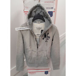 Abercrombie And Fitch Mens Logo Graphic Hoodie Sweatshirts Grey Size Small