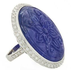 18k White Gold Blue Tanzanite Carved Large 48 Ct And White Si Diamonds Ring 6.5