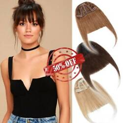Neat/thin Air Wispy Bangs Clip In Real Remy Human Hair Front Hairpiece Fringe Us