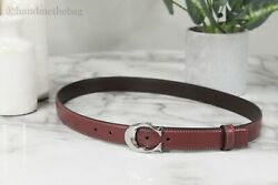 Coach Women#x27;s 25MM Signature Buckle Leather and Coated Canvas Dress Belt $74.00