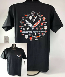 Chevy Corvette Evolution T-Shirt - Black w Generation Emblems By Year