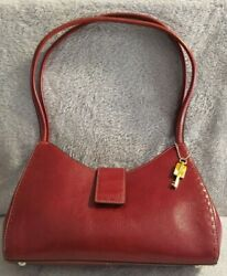 Original FOSSIL Red Leather Hobo Purse Handbag $40.00