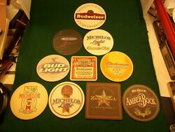 37 Of 40, Mixed Lot Of 10 Bar Coasters - Michelob Light Golden Tee, Olympic Bud