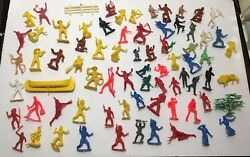 Lot Of Vintage Mixed Plastic Toy Cowboys Indians Horse Tim Mee + Many Unbranded