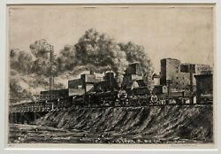 Reginald Marsh Etching And039erie R.r. And Factoriesand039 21 Pencil Signed Sas.102 1930