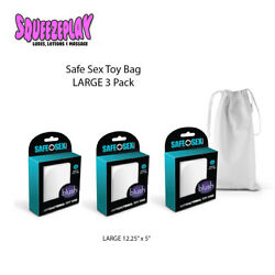 Blush Safe Sex Antibacterial Toy Storage Bag w Drawstring Closure LARGE 3 Pack