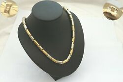 Stunning Hm 9ct White And Yellow Gold Fancy Barrel Link Necklace 36.27 G