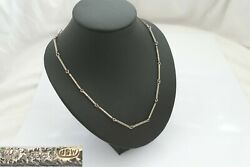 Rare Bespoke Hm 18ct White Gold Textured Bar Link Necklace 15.36 G By C Wharton