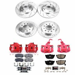 Kc166a Powerstop Brake Disc And Caliper Kits 4-wheel Set Front And Rear New