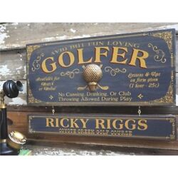Golf Personalized Wood Profession Sign With Nameboard