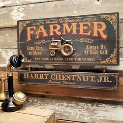 Farmer Wood Sign With Personalized Nameboard