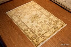 2and0399 X 4and039 Top Quality Hanmdade Beige Ivory Vegetable Dyed Rug Soft/muted Color