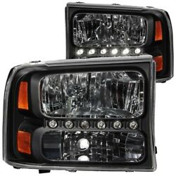 111106 Anzo Headlight Lamp Driver And Passenger Side New For F250 Truck F350 Lh Rh