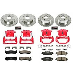 Kc2010b Powerstop 4-wheel Set Brake Disc And Caliper Kits Front And Rear For Chevy