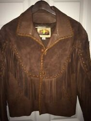 Arturo Brown Native/western Mans Leather Andsuede Jacket One Of A Kind Pristine 44