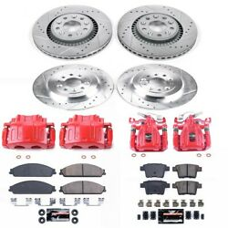Kc4039 Powerstop 4-wheel Set Brake Disc And Caliper Kits Front And Rear New