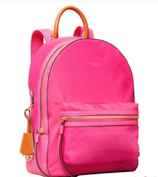 New Perry Bright Pink Nylon Zip Pockets Leather Handle Backpack 248