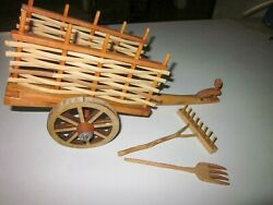 4- Traditional Wooden Tumbrel, Wood Horse Carriage, Wood Vintage Covered Wagon,