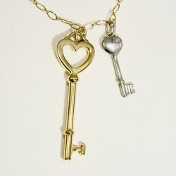 And Co.18k Yellow Gold Chain 18k Heart Key And Sterling Key With Diamond