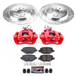 Kc4744c Powerstop Brake Disc And Caliper Kits 2-wheel Set Rear New For Ford Edge