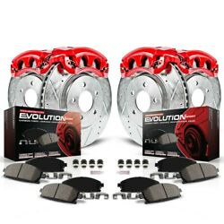 Kc2015 Powerstop 4-wheel Set Brake Disc And Caliper Kits Front And Rear For Chevy