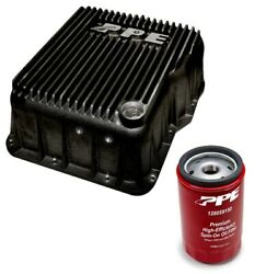 Ppe Black Deep Transmission Pan And Spin On Filter For 2001-2019 Gm 6.6l Duramax