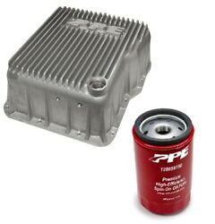 Ppe Raw Deep Transmission Pan And Spin On Filter For 2001-2019 Gm 6.6l Duramax
