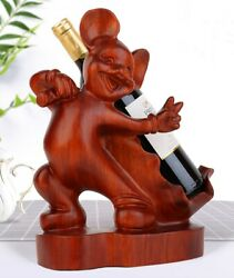 Rosewood Carved Mickey Mouse Statue Wine Rack Bottle Holder Storage Home Decor