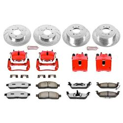 Kc1944a-36 Powerstop 4-wheel Set Brake Disc And Caliper Kits Front And Rear